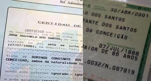 Certidão de nascimento e RG comprova a data de José Aguinelo. Foto: Foto: Talita Zaparolli / Terra