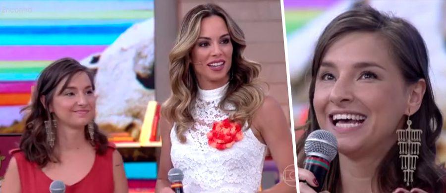 """Karen Bazzeo e a apresentadora Ana Furtado, no programa """"Encontro"""""""