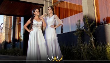 Ensaio fotográfico com nova linha de vestidos de noivas marca pré lançamento de espaço para festas em Bauru