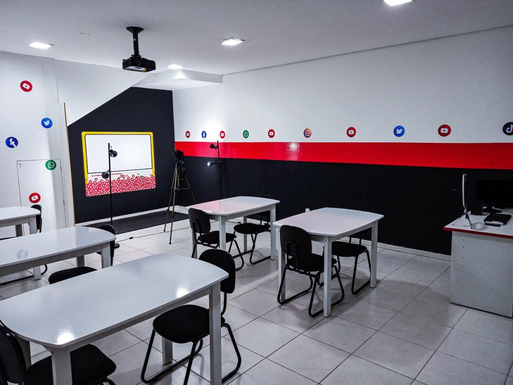 Sala do curso de youtuber