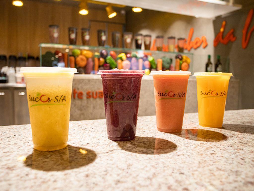 Sucos na franquia de comida saudável