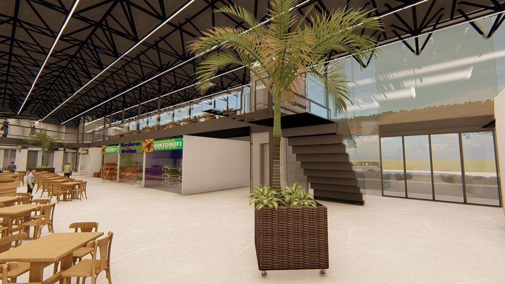 Espaço interno do centro gastronômico
